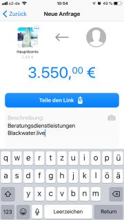 Die Funktion per Link Geld anzufordern ist genial, allerdings sollte hier für deutsche Kunden unbedingt daran gearbeitet werden, dass die anforderbare Summe steigt. Sie liegt nicht bei 3.550 EUR, sondern derzeit nur bei 250 EUR.
