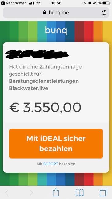 So sieht die Geldanforderung per LINK beim Empfänger aus. Mit Ideal in den Niederlanden könnte der Empfänger nun problemlos die geforderten 3.550 EUR bezahlen. In Deutschland ist aber nur SOFORT von Klarna verfügbar und dieses System ist auf 250 EUR gedeckelt.