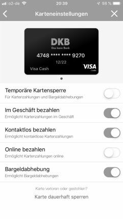 Die Karte temporär sperren, in Geschäften bezahlen, kontaktlos bezahlen, online bezahlen, Bargeldabhebung - alles lässt sich nun in der App steuern. Danke DKB!