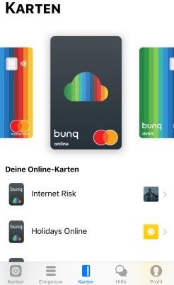 Ich kann nun bei bunq virtuelle Masterkarten erstellen und diese meinen Konten frei zuordnen. Selbstverständlich kann ich diesen Karten auch Limits vergeben.