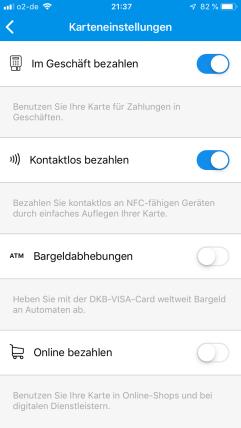 Bei der DKB lässt die die Visa Karte sehr gut in Echtzeit über die App steuern.