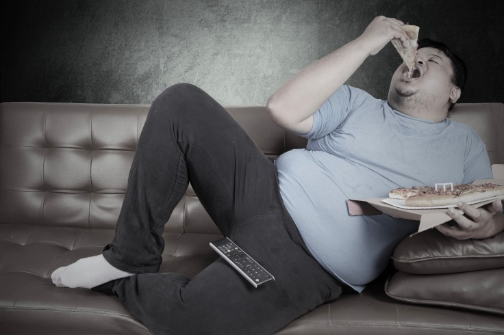 Obese person eats pizza 3